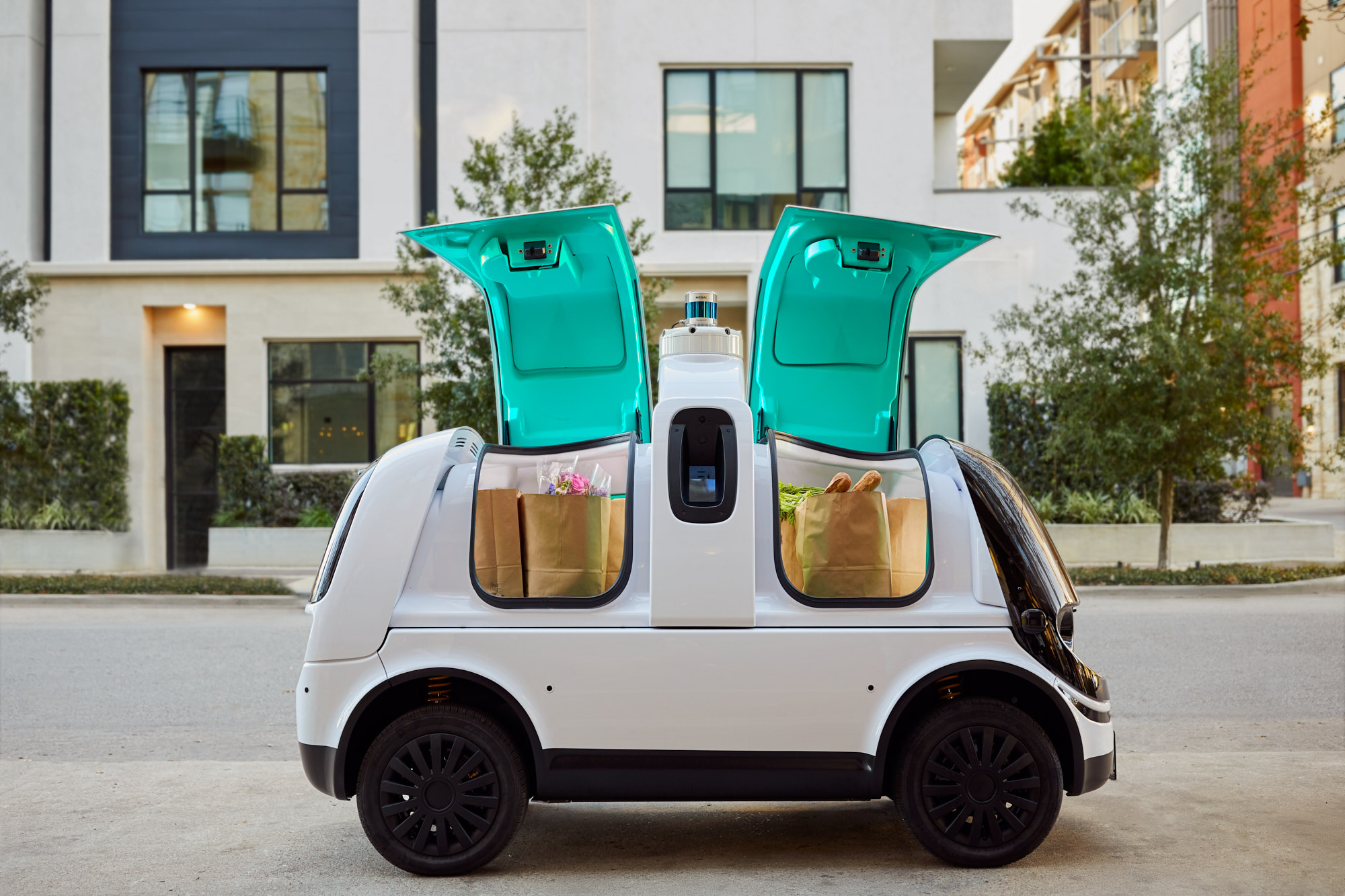 Driverless Vehicle with Open Doors | Brand Lifestyle Photography
